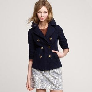 J. CREW Indigo Pea Jacket Navy Blue Denim